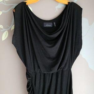 LINE Knitwear asymmetric drape dress